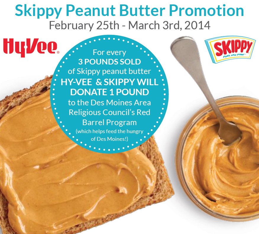 HyVee and Skippy Peanut Butter Sale Benefits DMARC Food Pantry