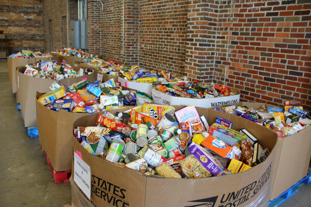 bins of donated food
